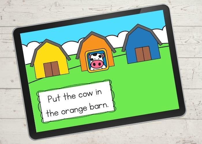 Farm Theme Color Matching Activities digital slide for the color orange.