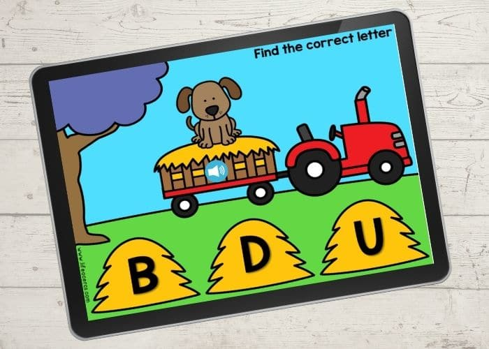 beginning sounds kindergarten literacy activity for farm theme picture shows a dog and the letter options b, d, and u