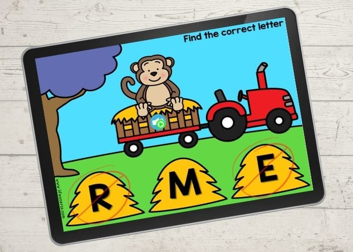 beginning sounds digital activity for kindergarten showing a picture of a monkey and the letter choices of r, m, and e