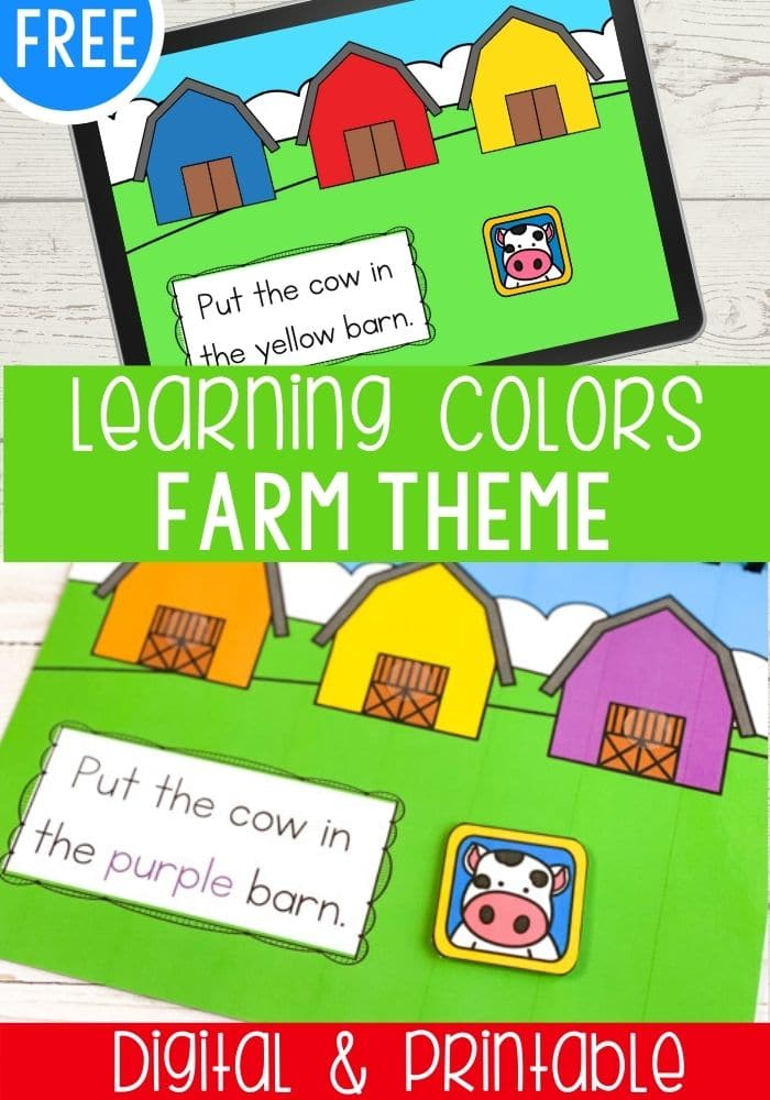 Free Learning Colors Farm Theme