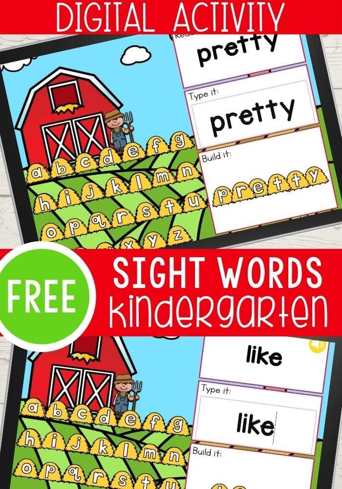 Free Farm Theme Sight Words Digital Activity for Kindergarteners
