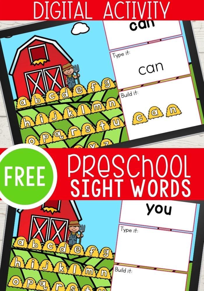 Free Preschool Farm Theme Sight Words Digital Activity