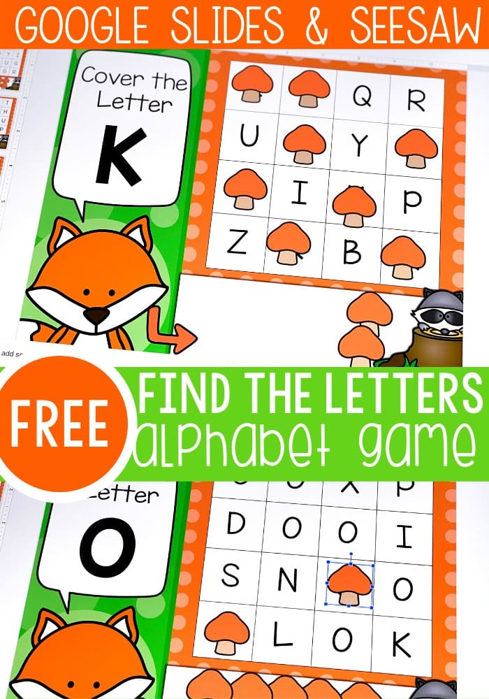 Practice letter recognition with these free find the letter alphabet games for Google Slides and Seesaw.