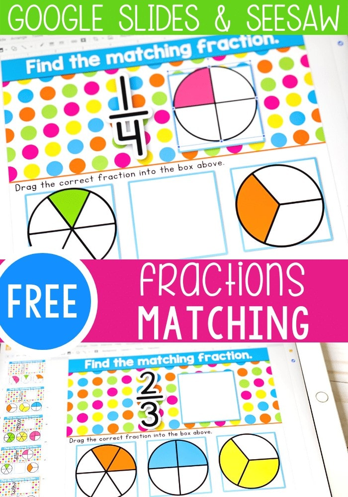 Free fraction activity for first grade and kindergarten math centers. Use this free digital Google slides and Seesaw activity to identify fractions.