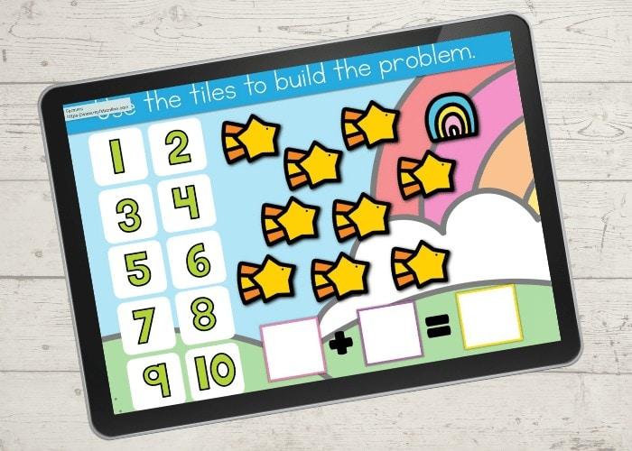 Marshmallow Cereal Kindergarten math addition to 10 math centers kindergarten google slides