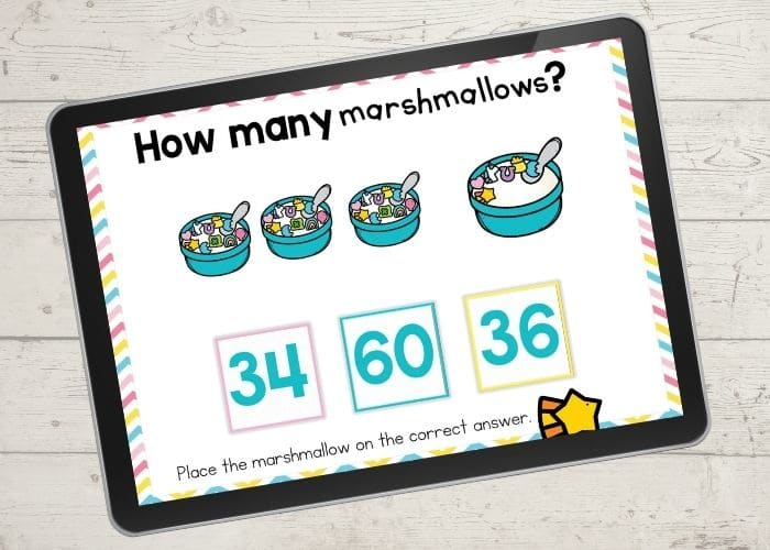 Count the marshmallows digital counting activity for kindergarten screen shows number 36