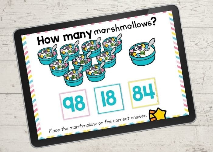 marshmallow cereal counting activity for kindergarten counting to 100 screen shows 98