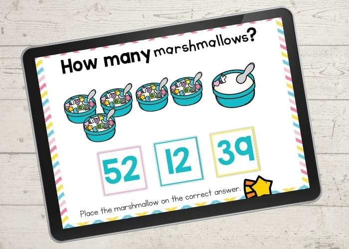 marshmallow cereal number counting activities for kindergarten screen shows 52