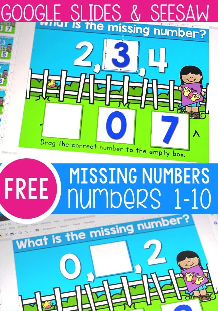 Free missing numbers activity for kindergarten. Missing numbers for 1-10 digital activity for Google Slides and Seesaw. Perfect kindergarten math centers, homeschooling and distance learning.