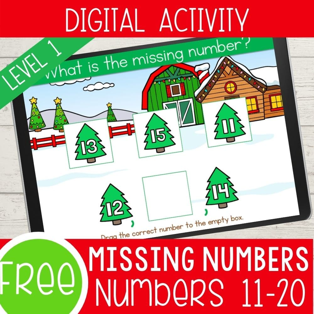 Digital Christmas counting game for Kindergarten.
