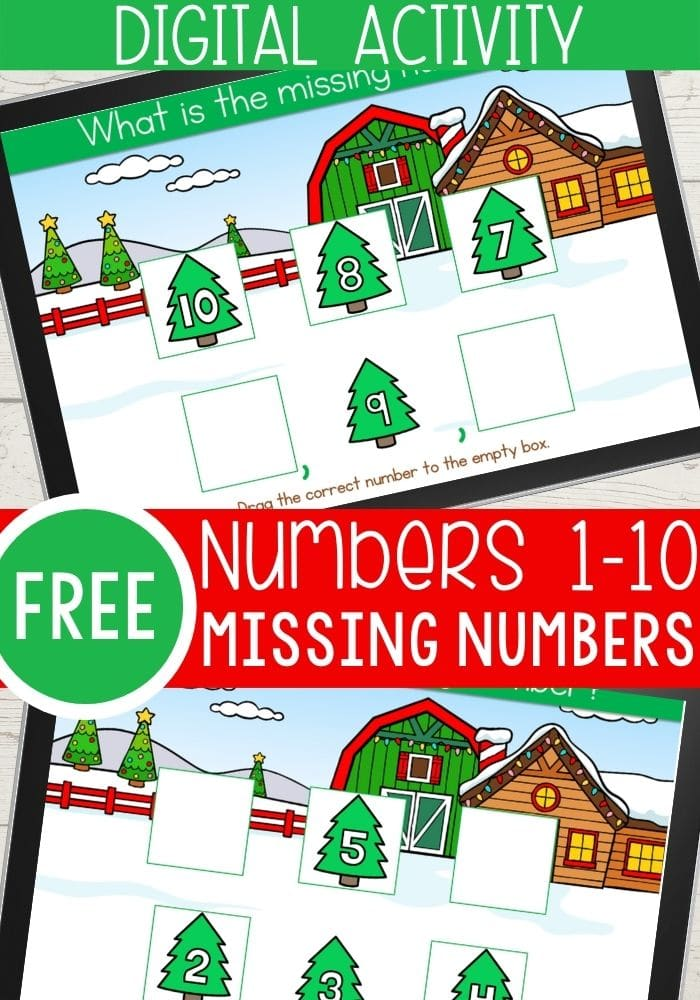 Free digital Christmas theme missing numbers activity for kindergarten with a Christmas theme.