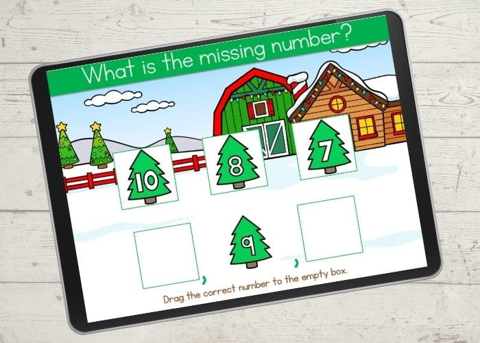 Free digital Christmas counting game for preschool.