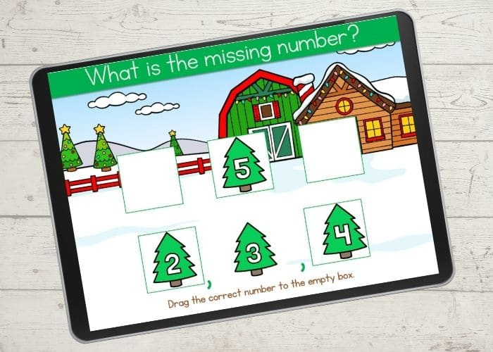 Christmas counting digital game.