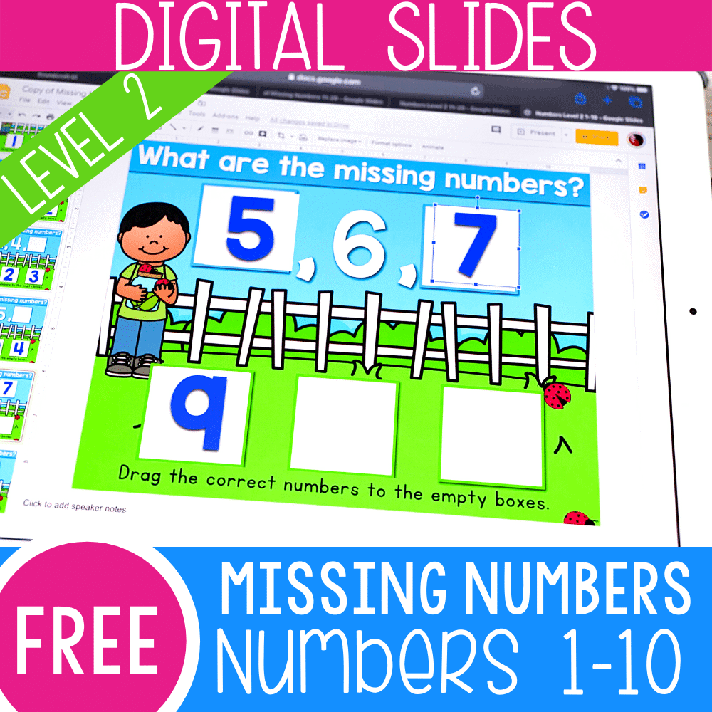Free missing numbers activity for kindergarten. Work on missing numbers for 1-10 with this free Google Slides and Seesaw math activity for kindergarten.