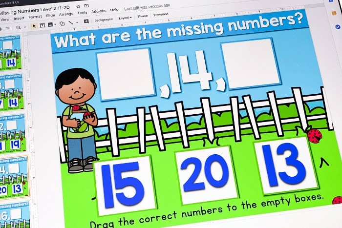 Free Digital Activity for practicing missing numbers in kindergarten math centers.