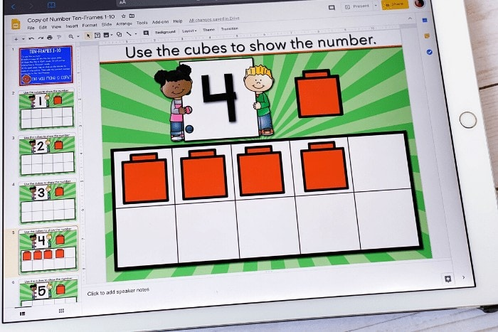 Free numbers 1-10 counting activity for preschool and kindergarten. Practice counting to 10 with these fun ten frame Google slides activities! Perfect for math centers, distance learning, homeschool and more!