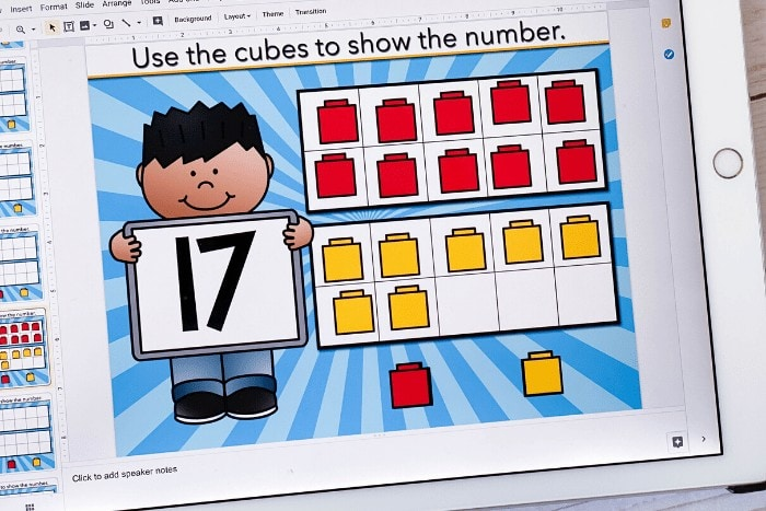 Free teen numbers 11-20 ten frames activity for kindergarten math centers. Use this free Google Slides kindergarten math activity to learn about counting teens.