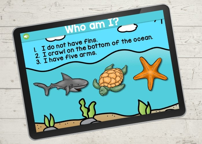 Free printable and digital ocean animal riddles for preschool. These