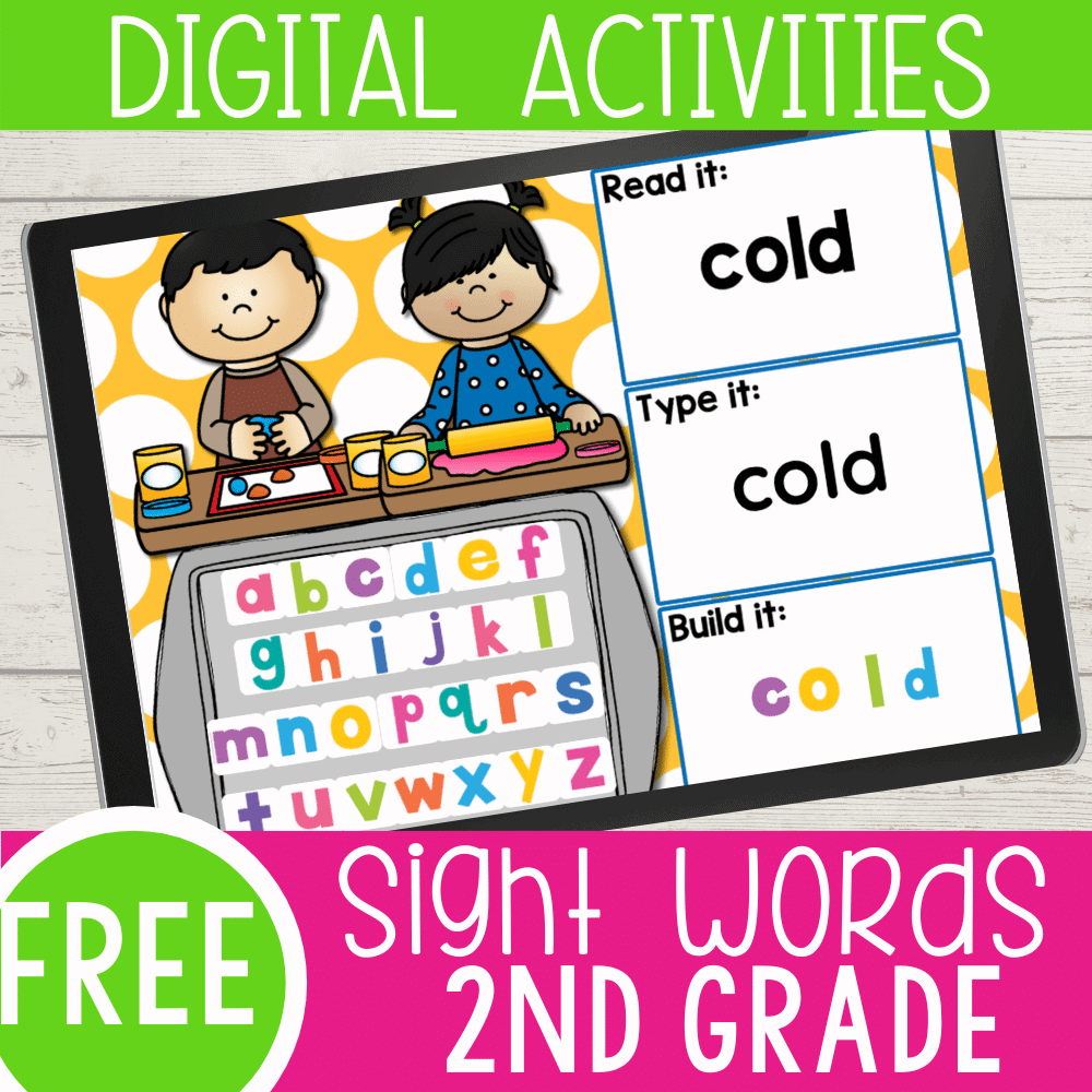FREE 2nd Grade Sight Words Google Slides and Seesaw activities for all Dolch sight words for 2nd Grade. Read the word, type the word and build the sight word with letter tiles.