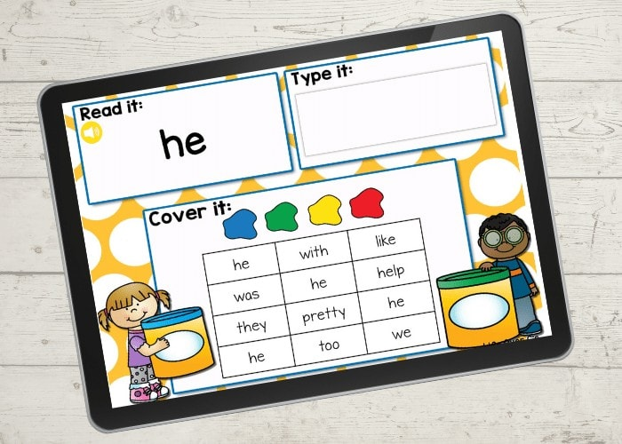 This Kindergarten Sight Word Digital I Spy set is a great way to work on learning sight words without it being