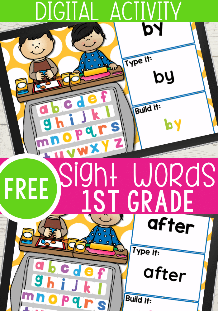 FREE 1st Grade Sight Words Google Slides and Seesaw activities for all 41 pre-primer sight words for preschool. Read the word, type the word and build the sight word with letter tiles.