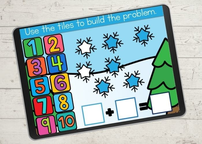 Addition up to 10 snowflake digital game.