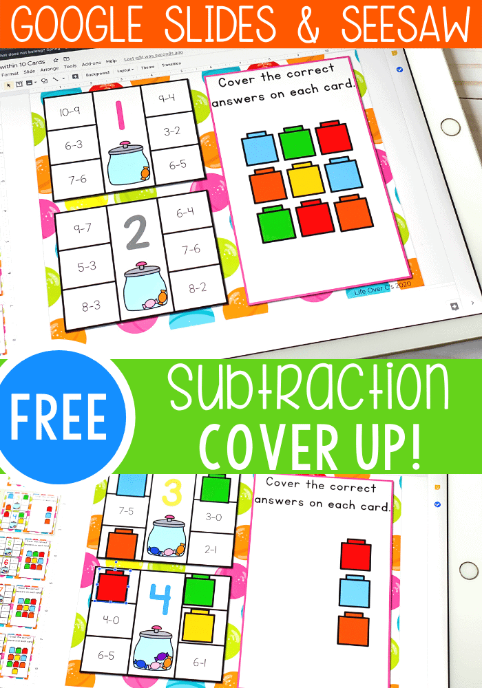 Free subtraction within 10 math activity for kindergarten math centers, homeschooling and distance learning. Use this digital Google slides and Seesaw activity to build subtraction fluency.