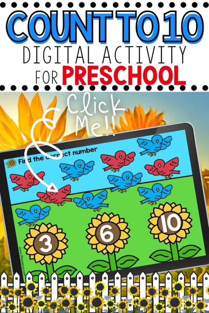 Free Bird Counting Digital Activity for Preschool