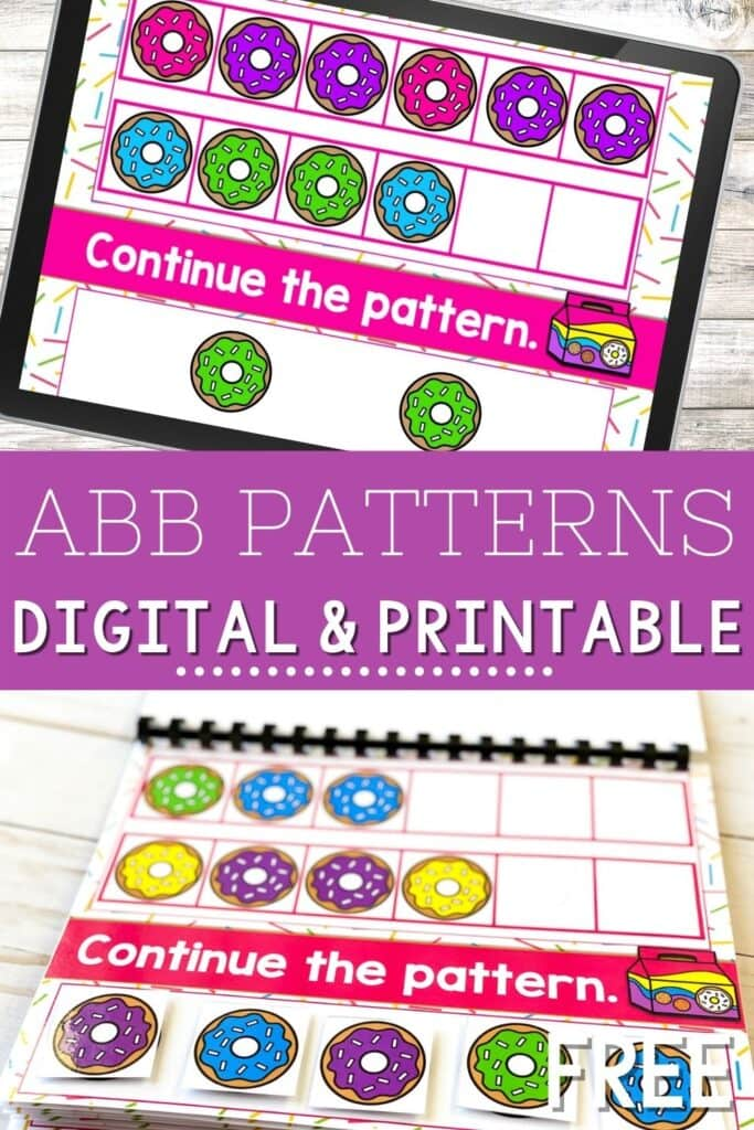 Donut Theme ABB Patterns Digital and Printable Activity
