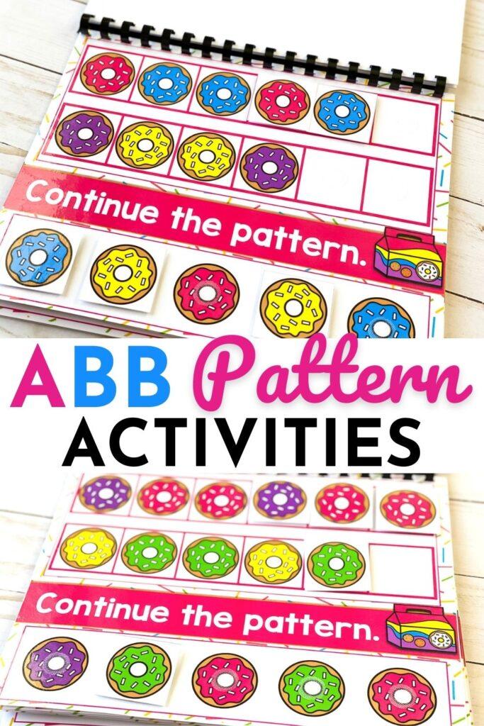 Free Printable Donut Theme ABB Pattern Activities