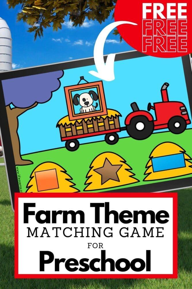Farm Theme Shape Matching Game for Preschool