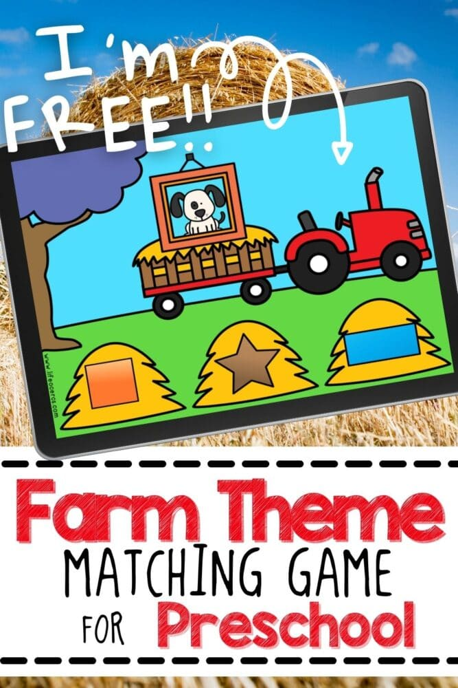 Free Farm Theme Shape Matching Game for Preschool