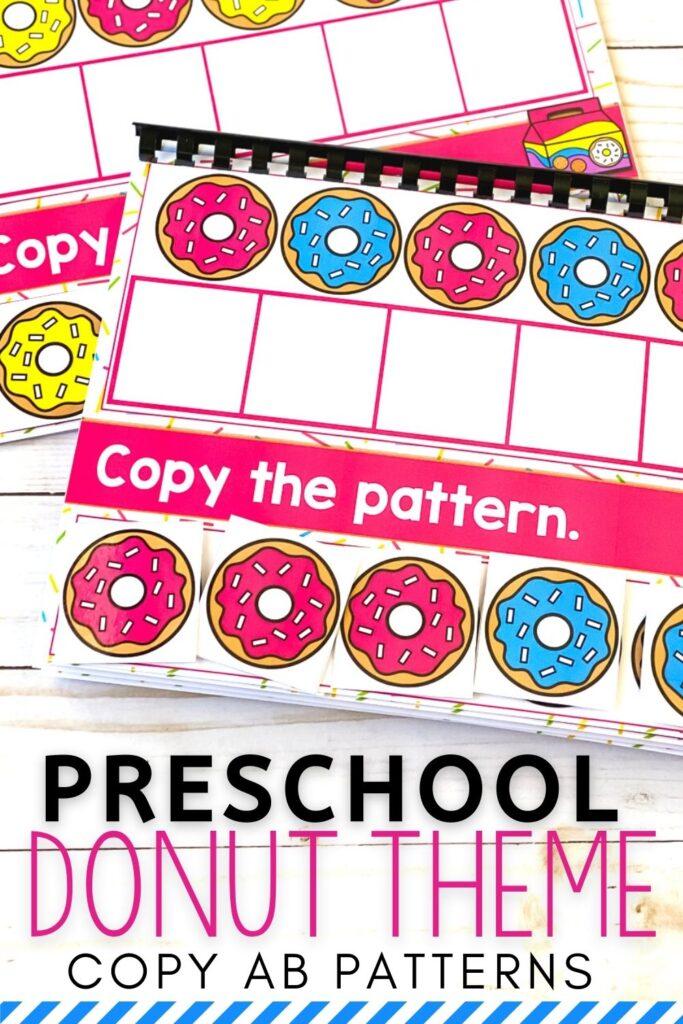 Preschool Donut Theme Copy AB Patterns