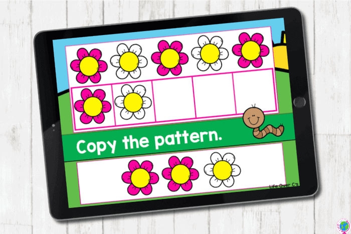 The digital slide for the pattern pink-white from the digital and printable complete AB pattern hands on activities for kindergarten.