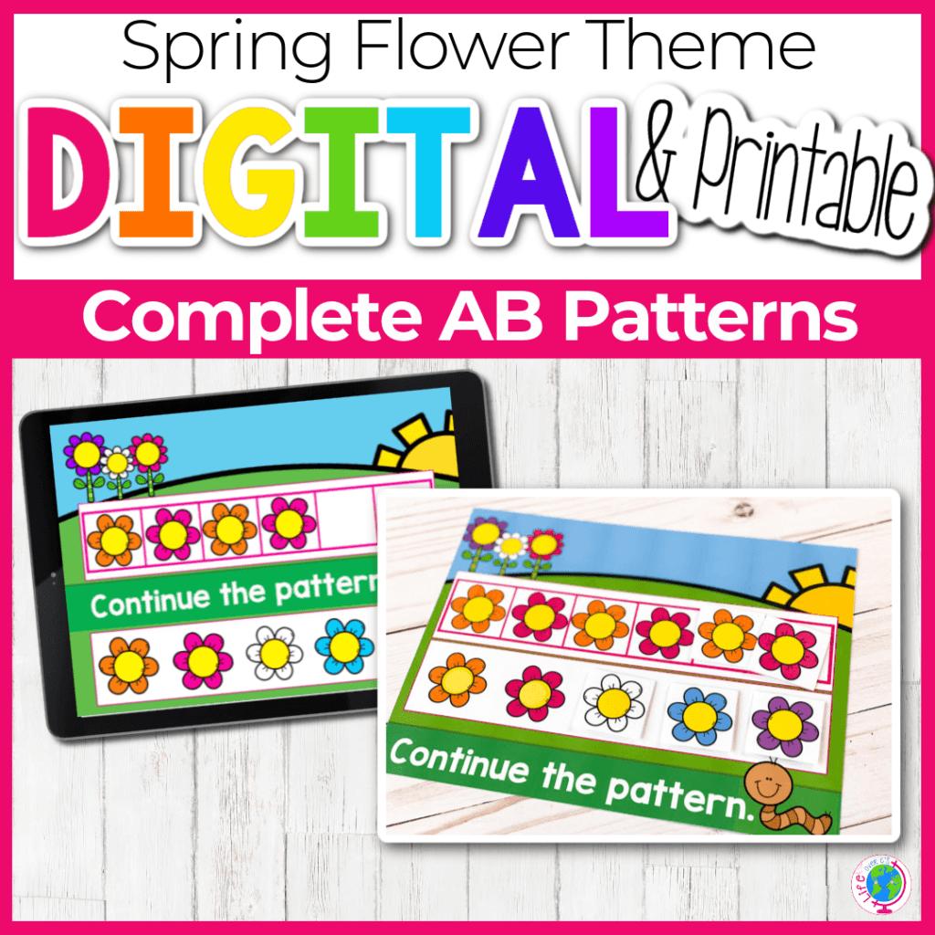 Spring Flower Theme Digital Complete AB Patterns Activity
