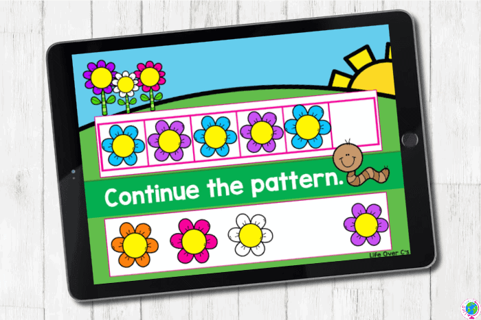 The digital slide for the pattern blue-pink from the digital and printable complete AB pattern hands on activities for kindergarten.