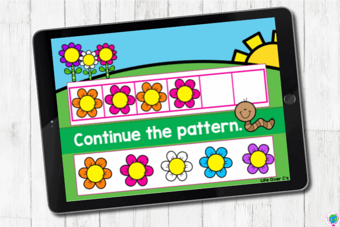 The digital slide for the pattern orange-pink from the digital and printable complete AB pattern hands on activities for kindergarten.