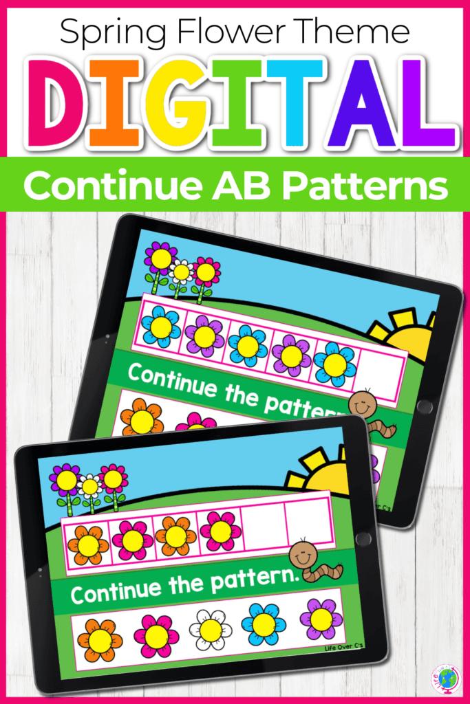 Spring Flower Theme Digital Continue AB Patterns