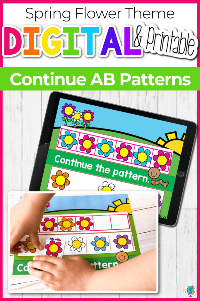 Spring Flower Theme Continue AB Patterns Activity