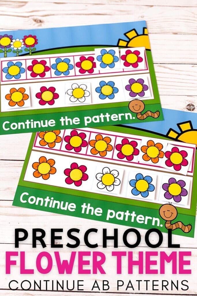 Preschool Flower Theme Continue AB Patterns