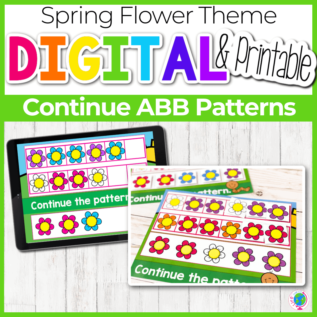 Spring Flower Theme Digital and Printable Continue ABB Patterns