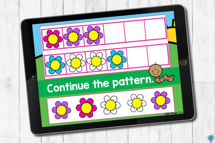 The digital slide for the pattern blue-white-white from the digital spring ABB pattern activities for kindergarten.