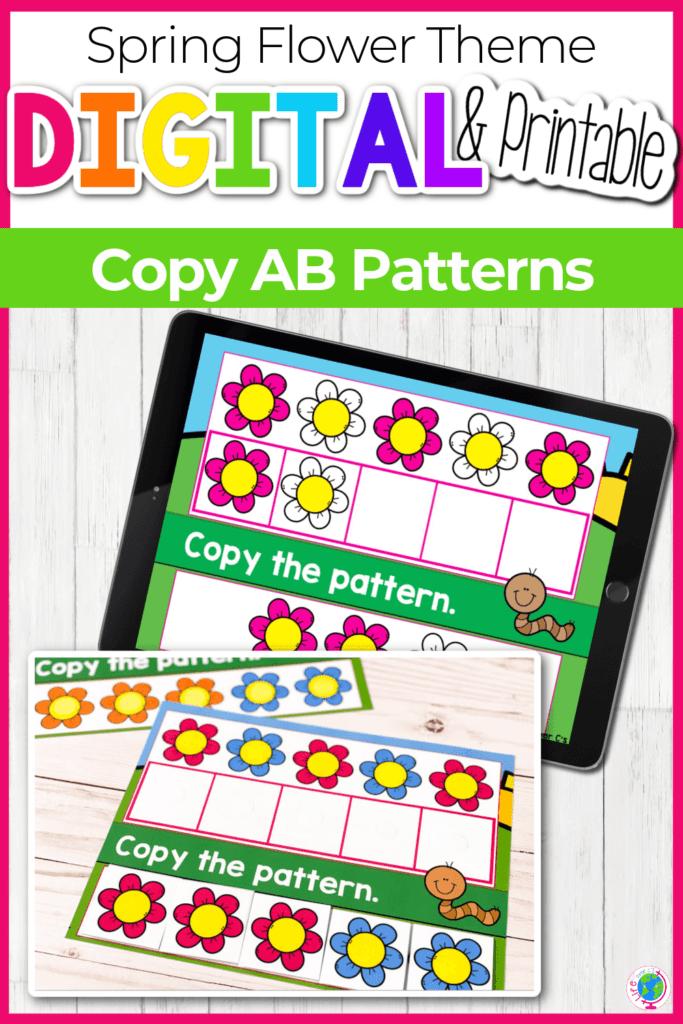 Digital and Printable Spring Flower Theme AB Patterns