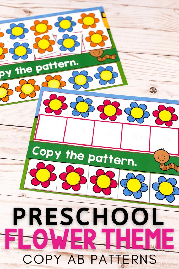 Free Preschool Flower Theme Copy AB Patterns