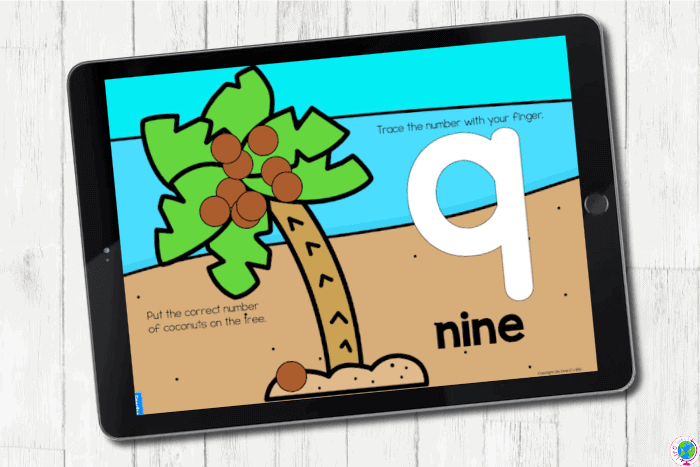 The digital Coconut Tree Counting Activities for Preschoolers slide for the number