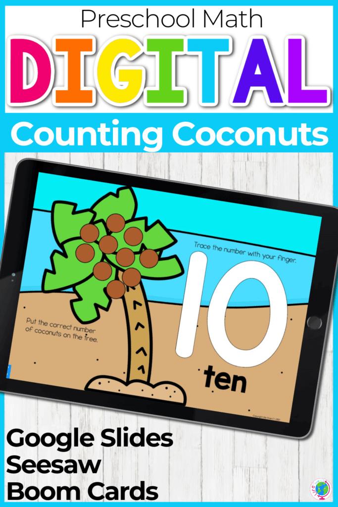 Digital Counting Coconuts Preschool Math Activity