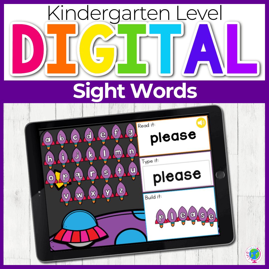 Space Theme Kindergarten Sight Words Digital Activity