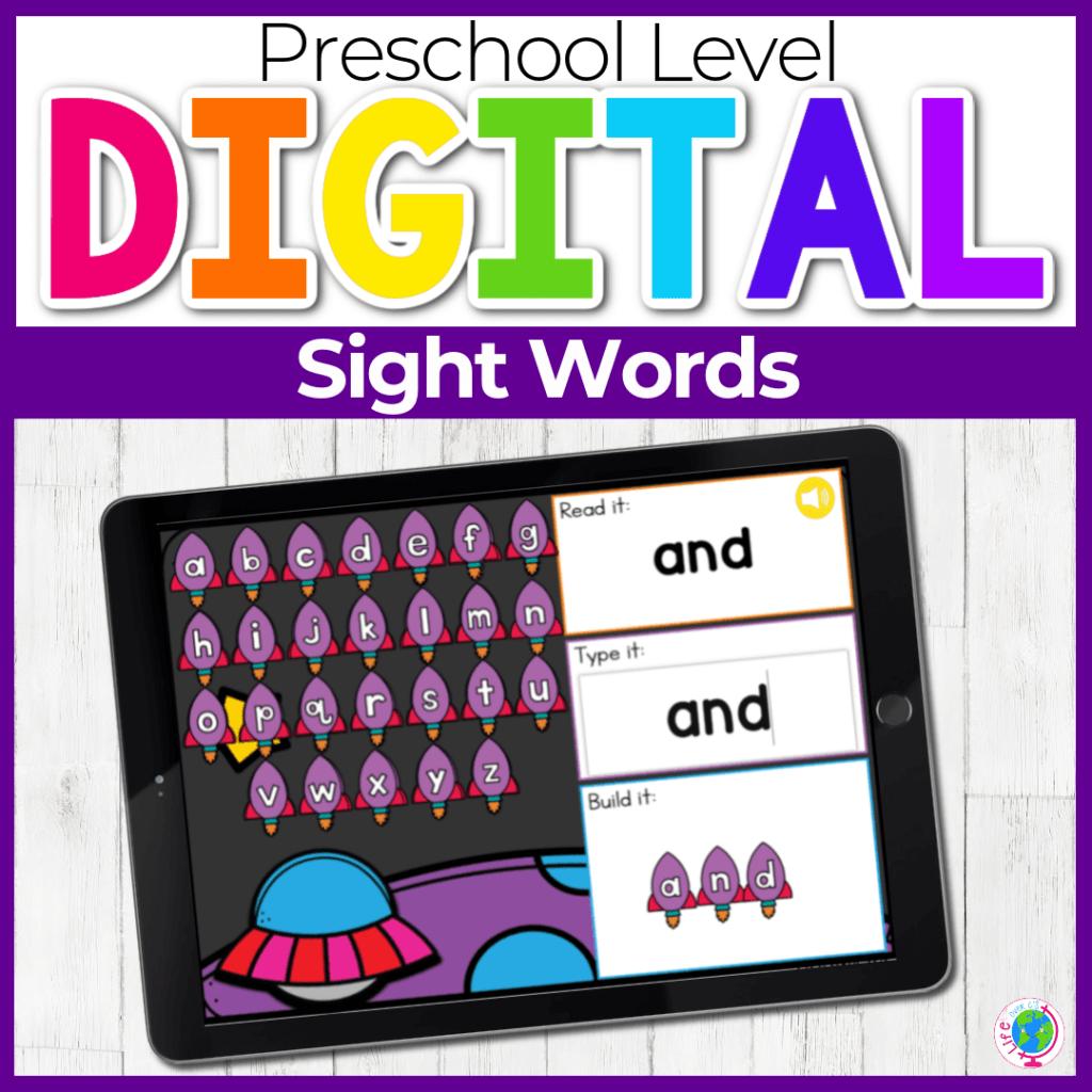 Preschool Space Themed Sight Words Digital Activity