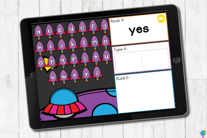 Kindergarten Sight Words Practice digital activity with a space theme.