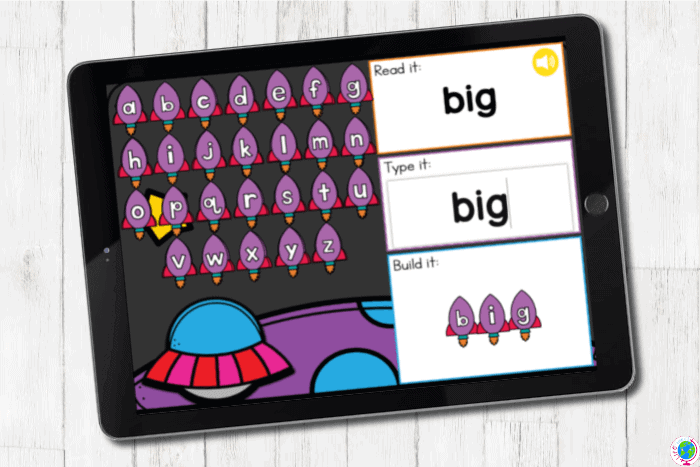 Sight words for preschoolers digital activity with a space theme.